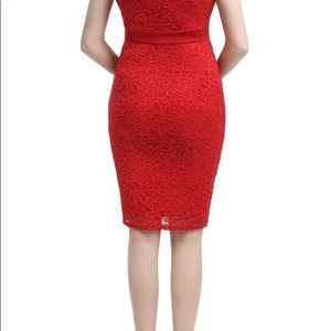 Kimi and Kai Dresses - Maternity red lace dress wore once